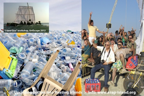 Upcycling plastic bottles into floating islands
