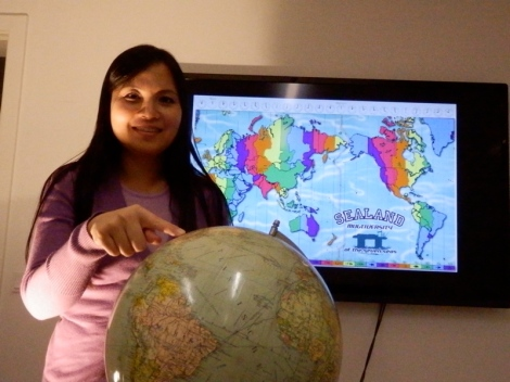 Julie Tran at MakeChangeTV, presenting the timezones for Sealand Multiversity kickoff-online/offshore event